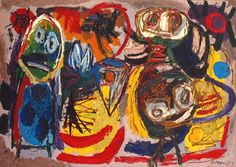 Karel Appel, People, Birds and Sun, 1954, oil on... - ArtMastered