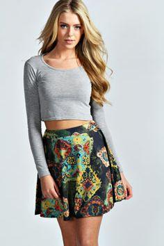 Laura Paisley Tile Print Skater Skirt at boohoo.com