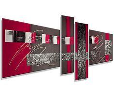 MK1 Art Bild Leinwand Abstrakt Gemälde Kunst Malerei modern Bilder Acryl rot XXL in Möbel & Wohnen, Dekoration, Bilder & Drucke | eBay