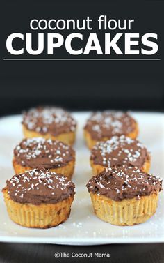 Coconut Flour Cupcakes (Gluten & Diary Free) - These delicious coconut flour cupcakes are topped with dairy free chocolate frosting and sprinkled with shredded coconut.