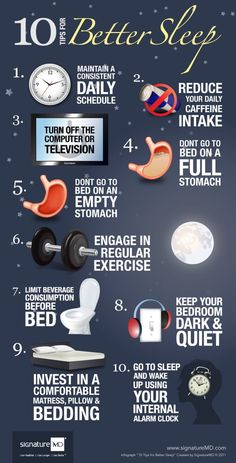 10 tips for better sleep / infographic. I'd like to add... And don't be pregnant :)