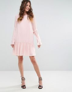 d999695729 Glamorous Tall Shift Dress With Peplum Hem And Ribbon Tie Sleeves