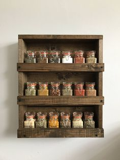 This: but bigger for Mason jars. amazing diy wall mounted spice rack or rustic wood spice rack wood wall mounted spice organizer 26 home interiors in kerala style Spice Rack Rustic, Diy Spice Rack, Kitchen Spice Racks, Spice Storage, Kitchen Pantry, Diy Storage, Storage Ideas, Kitchen Ideas, Wall Shelf Decor