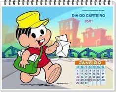 Resultado de imagem para calendário de datas comemorativas com a turma da monica mes de janeio