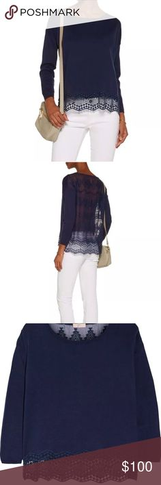 Joie Jenka Geo Lace navy top sweater blouse New without tags, sold out! Silk/cotton, lovely blue(navy) color, pullover style, comfortable loose fit. Great quality! Joie Sweaters Crew & Scoop Necks
