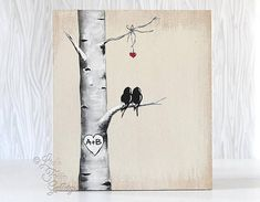 5th Anniversary Gift for Him Custom Wedding Gift Decor Rustic Pallet Art Affordable Original Paintings Love Bird Painting Aspen tree Painting Birch tree Painting Personalized Wedding Gift for Couple Aspen Tree / Birch Tree Love Birds Painting { Size } - 13x 11 1/2 on MDF that has