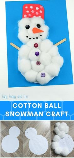 Fun Christmas Craft Ideas For Preschoolers 2019 Cotton Ball Snowman Christmas Crafts For Toddlers, Winter Crafts For Kids, Toddler Christmas, Craft Projects For Kids, Crafts For Kids To Make, Toddler Crafts, Christmas Snowman, Preschool Crafts, Holiday Crafts