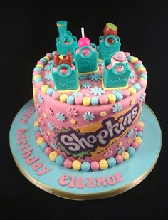 Shopkins themed 6 inch tall chocolate cake #shopkins