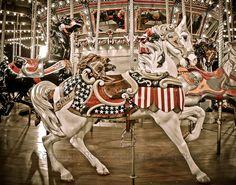 Carousel Horse Amusement Park Photo - White Horse - Spirit - Patriotic - Carnival State Fair  11 x 14 Print - Fine Art Photography via Etsy