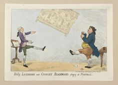 A hand-coloured print of a satire on Fox's attempt to force the East India Bill in the House of Lords in an attempt to limit government involvement in the East India Company. Charles James Fox and William Pitt are shown playing football with East