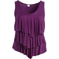 GLAM Eggplant Ruffle Three-Quarter Sleeve Top ($28) ❤ liked on Polyvore featuring plus size women's fashion, plus size clothing, plus size tops, plus size, flounce tops, women's plus size tops, ruffle top and plus size three quarter sleeve tops