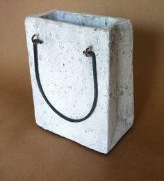 Cement Shopping Bag Planter Decorative Garden