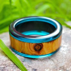 Blue Resin and Wood bangle Wooden Bangle by BalconyStudioResin