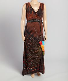 Look what I found on #zulily! Brown Floral Embroidered Maxi Dress - Plus #zulilyfinds