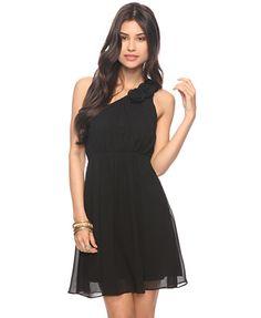 F21 Rosette One Shoulder Dress