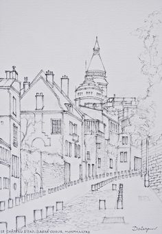 The Château d'Eau (Water Tower) and Sacré Coeur rise above houses in rue de l'Abreuvoir, Montmartre, Paris. Freehand sketch by Dai Wynn in pencil and ink on 300gsm medium surface Arches french cotton paper. 29.5 cm high by 21 cm wide (11.75 inches by 8.25 inches) approximately – A4 standard size.  Now a watercolour painting.
