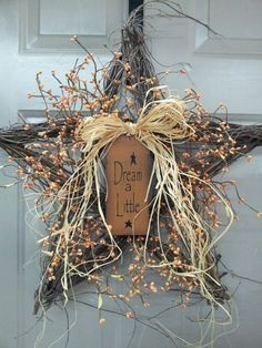 Stqr twig wreath with berries.