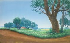 """Original hand-painted preliminary production background on peg hole paper from """"Mary Poppins,"""" Walt Disney Studios; Production number lower right; Size - Background Image: 10 x Sheet 12 x Unframed. Walt Disney Mary Poppins, Mary Poppins 1964, Mary Poppins Halloween, Walt Disney Studios, Animation Background, Disney Animation, Disney Art, Background Images, Art Gallery"""