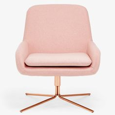 Drawing inspiration from mid-century modern styles, architects Busk + Hertzog designed this organically shaped, molded seat set on a geometric, swivel base. Clad in a removable new wool slipcover, softly rounded armrests and back are designed to draw in the body, while a sleek chrome base imparts sophistication.
