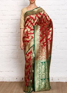 Red & green banarasi silk printed brocade saree #banarasi #red #wedding