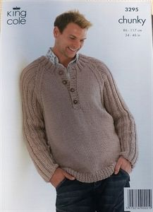 Mens Button Neck Jumper Chunky Knitting Pattern