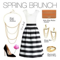 Stella & Dot | Spring Brunch | Weekend brunch will never be boring when you're wearing our gorgeous new spring collection. Shown Drape Collar Necklace, Soho Flap Wallet in Saddle, Drape Ear Jackets and Engravable Signet Ring