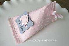 Pink and Gray Elephant Baby Shower Favors  by BeautifulPaperCrafts, $18.00