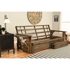 Chesapeake Futon With Storage In Rustic Walnut Finish Multiple Colors Beige