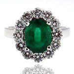 Our gorgeous 1.86ct Emerald in this Emerald Diamond Ring is set in 18kt White Gold, surrounded by a 1.14ct array of FVS1 Diamonds