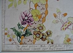 1700s a Watercolour Design by Stanley Rondeau  for Hugeunot Silk weavers who lived in Spitalfields Londob