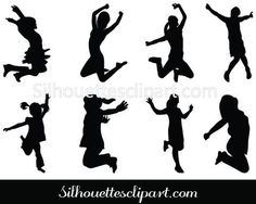We have a collection of eight young girls jumping with joy in black silhouette vector format. Silhouette Clip Art, Woman Silhouette, Silhouette Cameo Projects, Vector Clipart, Vector Graphics, School Murals, Girls Clips, Elementary Art, Coloring Pages