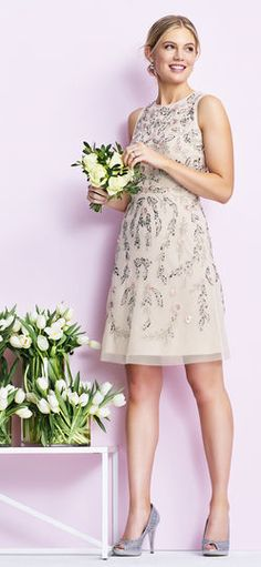 Adrianna Papell | Floral Beaded A-Line Cocktail Dress
