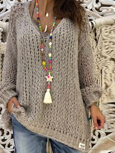 Plus Size Light Gray Basic Knitted Shirts & Tops – Flipom Gris Violet, Winter Dress Outfits, Dress Winter, Plus Size Casual, Knit Shirt, Pulls, Long Sleeve Sweater, Types Of Sleeves, Plus Size Fashion