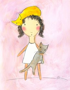 Girl with Pink Cat