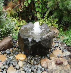 These beautiful fountains are shaped by nature. Under the right conditions, basalt columns break into these bowl-shaped rocks. We drill a 1 to Basalt Dish Rock fountain Garden Water Fountains, Stone Fountains, Small Fountains, Outdoor Fountains, Water Gardens, Small Water Features, Outdoor Water Features, Water Features In The Garden, Stone Water Features