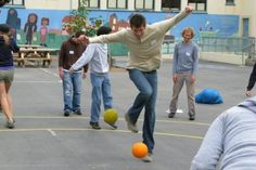 Benchball from Playworks Gym Games For Kids, Pe Games, Games To Play, Movement Activities, Physical Activities, Group Activities, School Games, School Fun, Natural Play Spaces