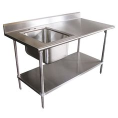 "16 Gauge Advance Tabco KMS-11B-305 Stainless Steel Work Table with Sink 30"" x 60""  add a S'S drawer"