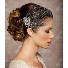 Bridal Veil and Bridal Comb, Bandeau Birdcage Veil, Bird Cage Veil -... ($50) ❤ liked on Polyvore