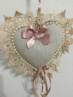 Lace and Pearl Heart With Satin Bow Valentine Decorations, Valentine Crafts, Christmas Crafts, Valentines, Sewing Crafts, Sewing Projects, Crafts To Make, Diy Crafts, Shabby Chic Hearts