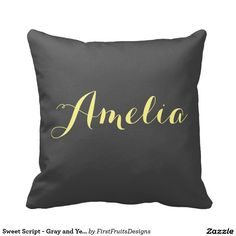 Sweet Script - Gray and Yellow Monogram Throw Pillow