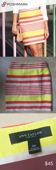 Ann Taylor Striped Pencil Skirt Sz 00 Beautiful and bright pencil skirt from Ann Taylor. It has yellow and coral/orange stripes--perfect for spring and summer! It's served me well for work, but it's a bit baggy on me now that I've lost some weight. Sad to part with it, but please give it a loving home! Happy to answer any comments! Ann Taylor Skirts Pencil