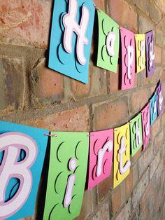 Bandera LEGO LEGO amigos feliz cumpleaños Banner por Skrapologie