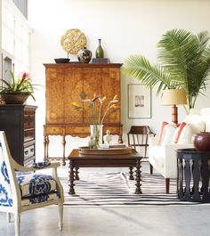 """""""Dutch & Flemish 17th century style, with bold carved wood  details, finishes and distressing giving each piece an  unusual look. Jonathan Charles loves to combine these designs with country style or Moroccan inspired homes…"""" #JonathanCharles #Bingley #Furniture #InteriorDesign #Hpmkt #Decorex"""