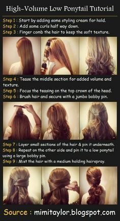Add volume and a pretty look to your low ponytail!