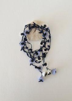 Dark Blue Crochet Necklace 3D Bellflowers Beaded Lariat Jewellery, Beadwork, Wedding Necklace, ReddApple, Fast Delivery