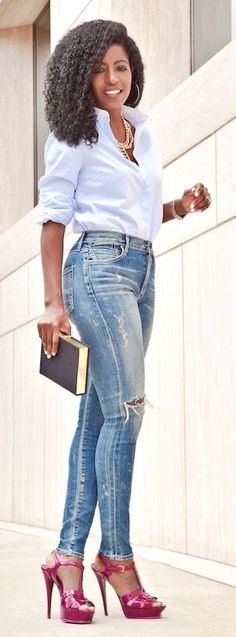 High Waist Distressed Skinnies Styling by Style Pantry