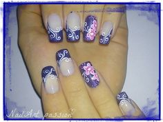 Pink Flowers and Spirals on Blue Nail Art