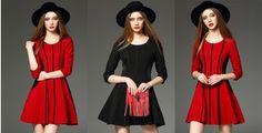 Schwarz Rot Baumwoll-Mischungen Farbblock 3/4-lange Ärmel Über dem Knie Kleider