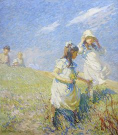 Dorothea Sharp, RBA, ROI (British, 1874-1955) The Wind on the Hill