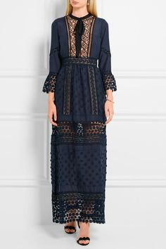 Navy crepe and guipure lace  Concealed zip fastening along back 34% cotton, 30% polyester, 21% polyamide, 8% Tencel, 7% silk; lining: 97% polyester, 3% spandex Hand wash